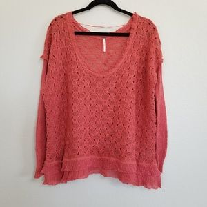 Free People Deep Coral Lacy Knit Sweater L